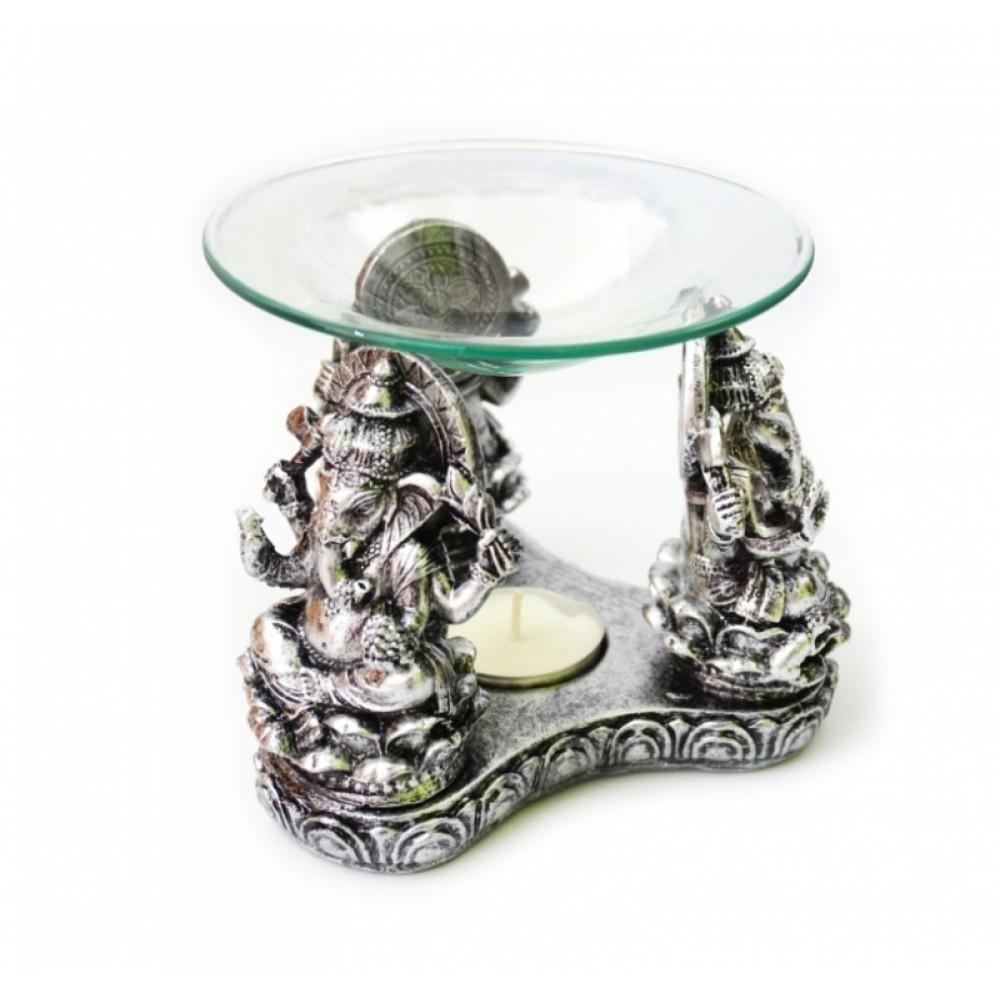Аромалампа Три Ганеши из полистоуна со стеклянной чашей