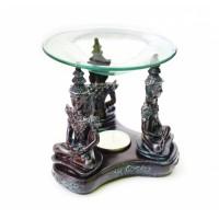 Аромалампа Три Тайских Будды из полистоуна со стеклянной чашей