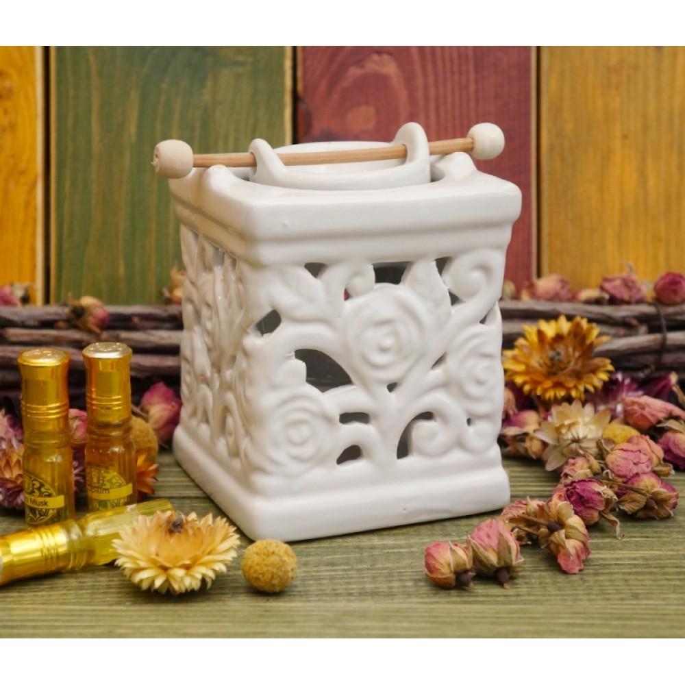 Аромалампа керамическая 'Колодец с розами' Белая