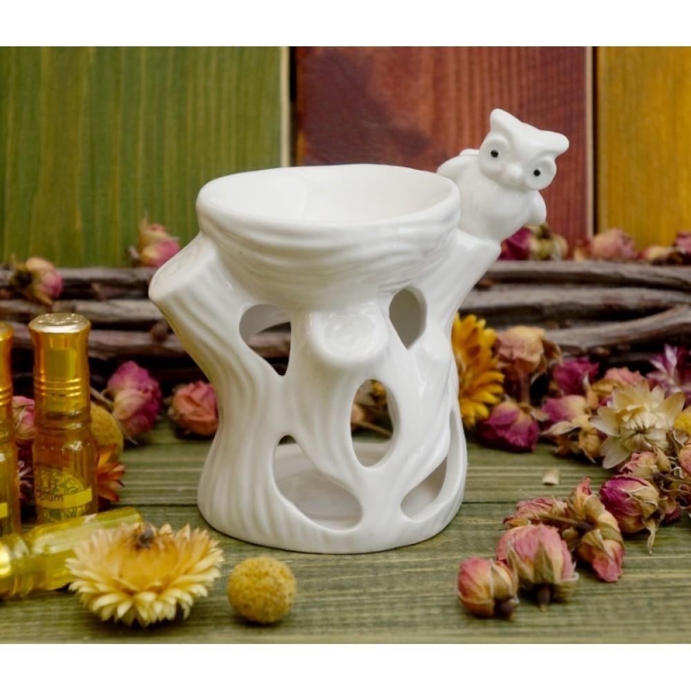 Аромалампа керамическая 'Сова на дереве' Белая