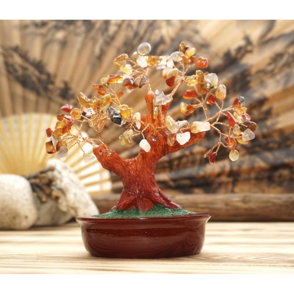 Дерево Счастья с камнями Агат 21 см