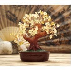 Дерево Счастья с камнями Цитрин 21 см