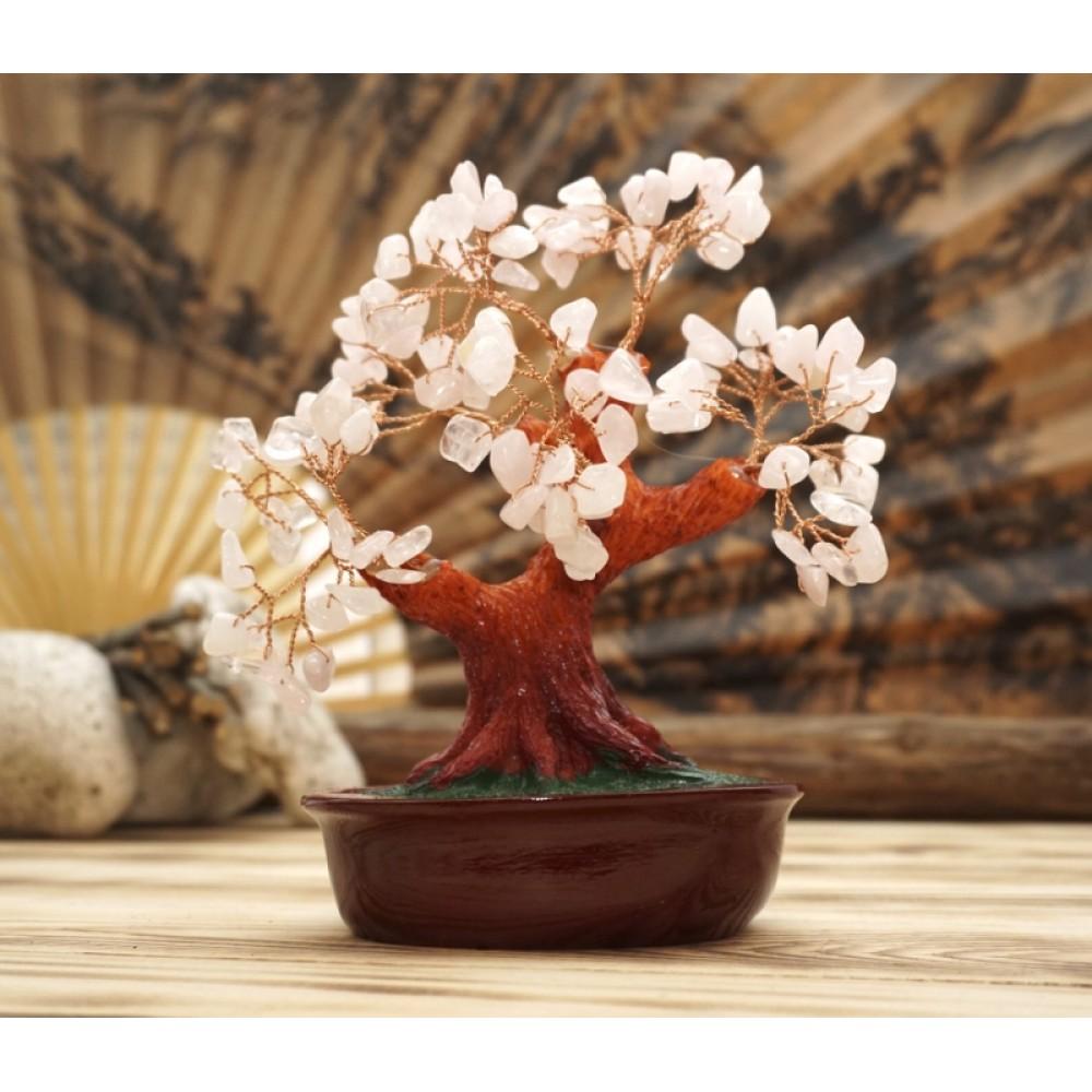 Дерево Счастья с камнями Розовый кварц 21 см