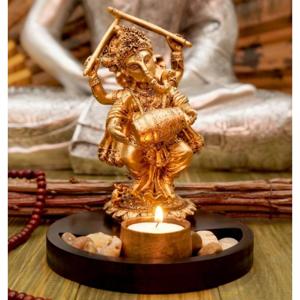 Статуэтка Ганеш с барабаном + подсвечник в золотом цвете 19 см