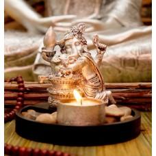 Статуэтка Ганеш Шивалинг + подсвечник в серебряном цвете 11,5 см