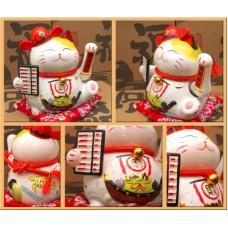 """Счастливый кот Манэки Нэко """"Счёты"""" фаянс"""