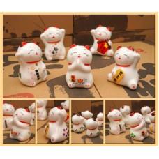 Счастливый кот Манэки Нэко фаянс набор 5 штук