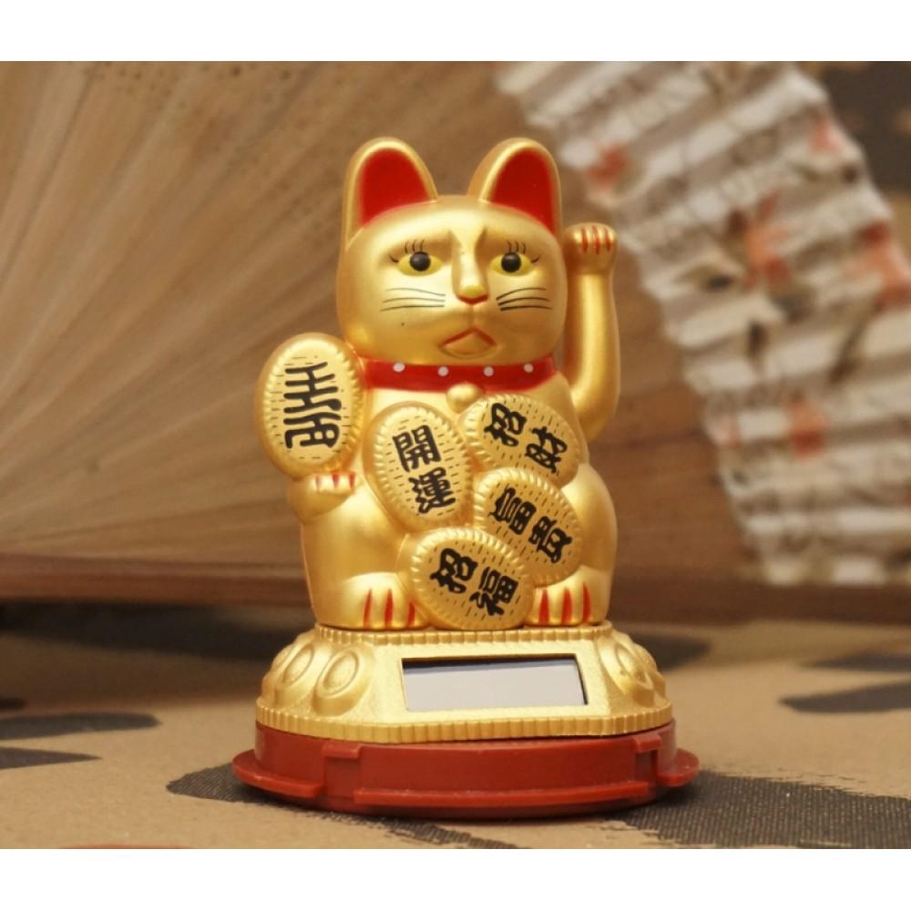 Счастливый кот на солнечной батарейке Золотой №2