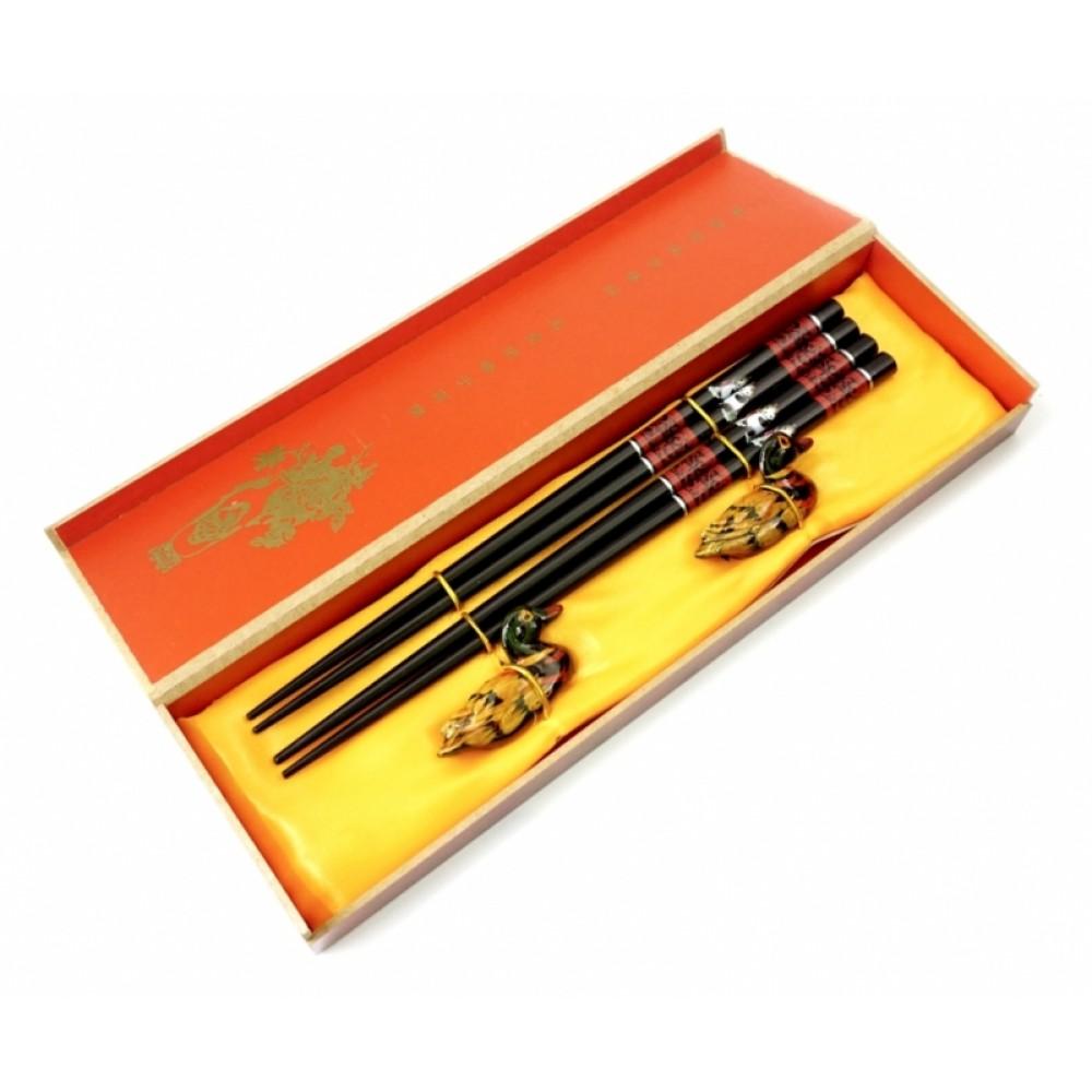 Палочки для еды, для суши 2 пары + 2 подставки в подарочной коробке №3
