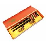 Палочки для еды, для суши 2 пары + 2 подставки в подарочной коробке №1