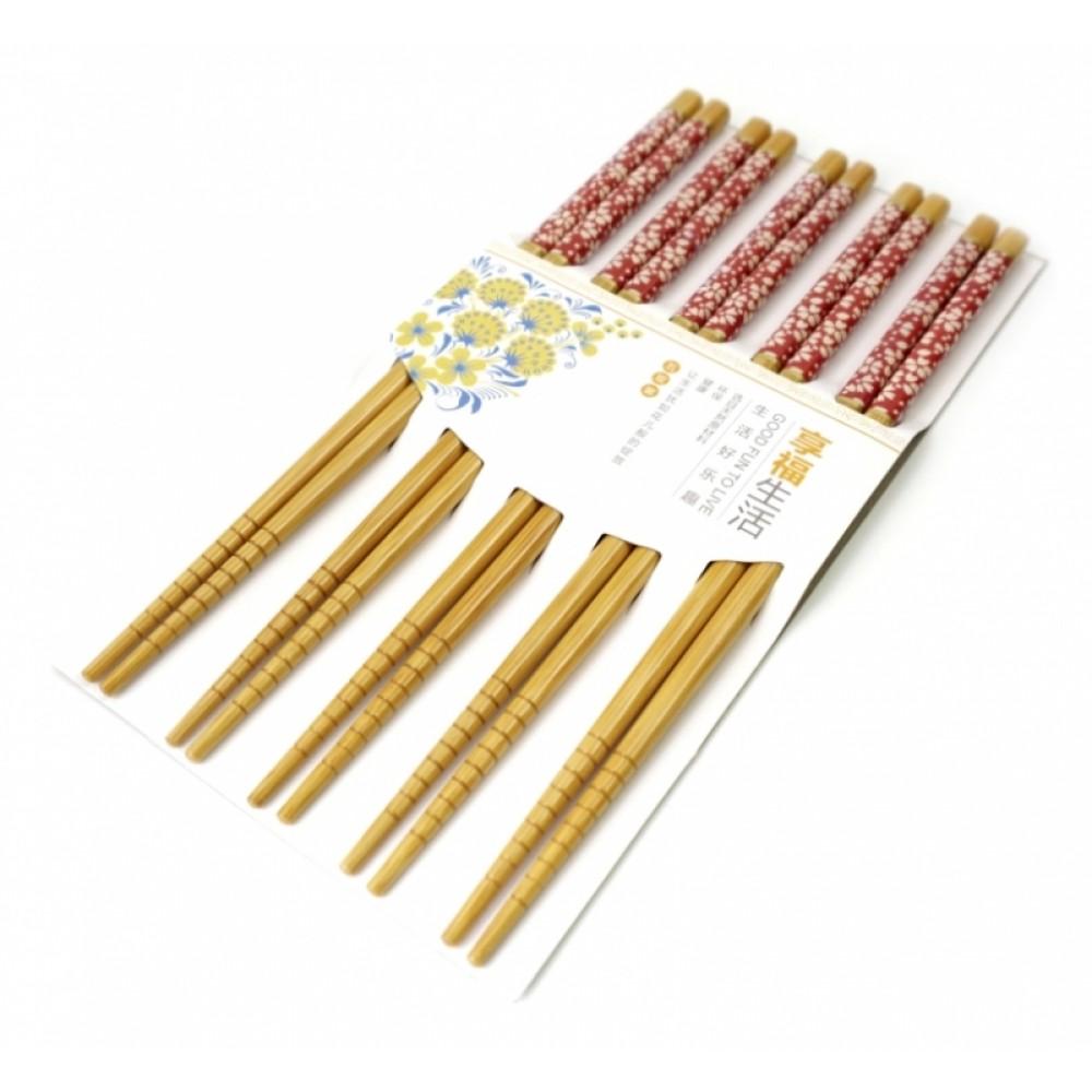Палочки для еды бамбук с картинкой в блистере набор 5 пар №1
