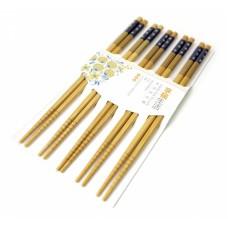 Палочки для еды бамбук с картинкой в блистере набор 5 пар №2