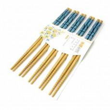 Палочки для еды бамбук с картинкой в блистере набор 5 пар №3