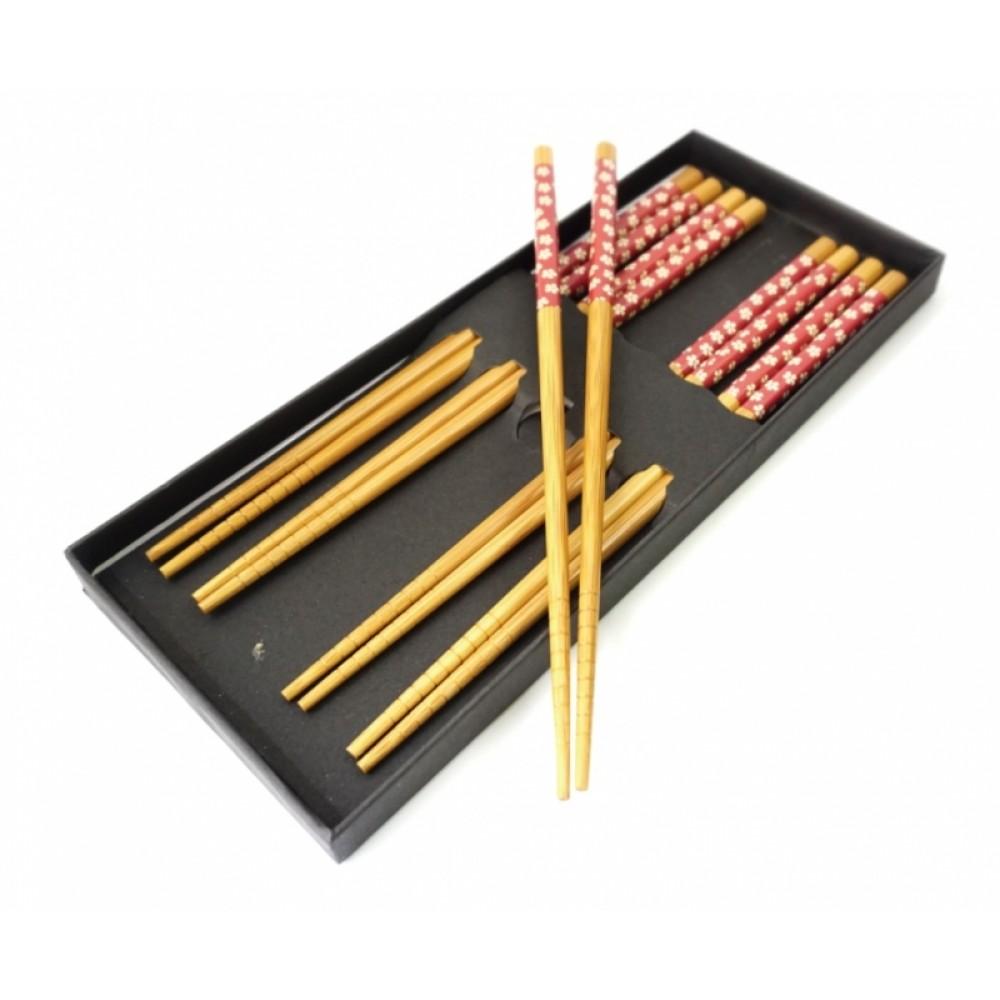 Палочки для еды бамбук с рисунком набор 5 пар №2