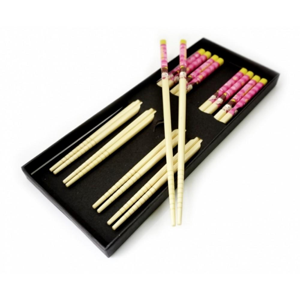 Палочки для еды бамбук с рисунком набор 5 пар №4