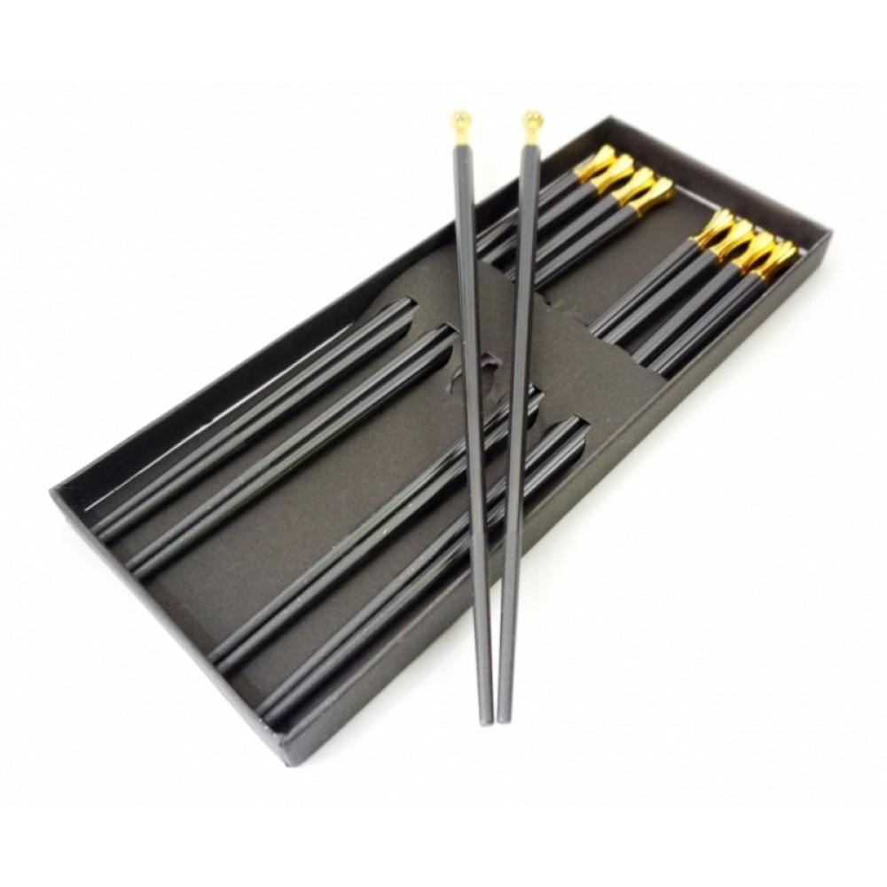 Палочки для еды эбонитовые чёрные набор 5 пар №4