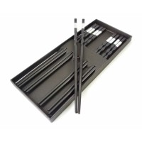 Палочки для еды эбонитовые чёрные набор 5 пар