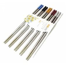 Палочки для еды стальные цветные в блистере набор 5 пар