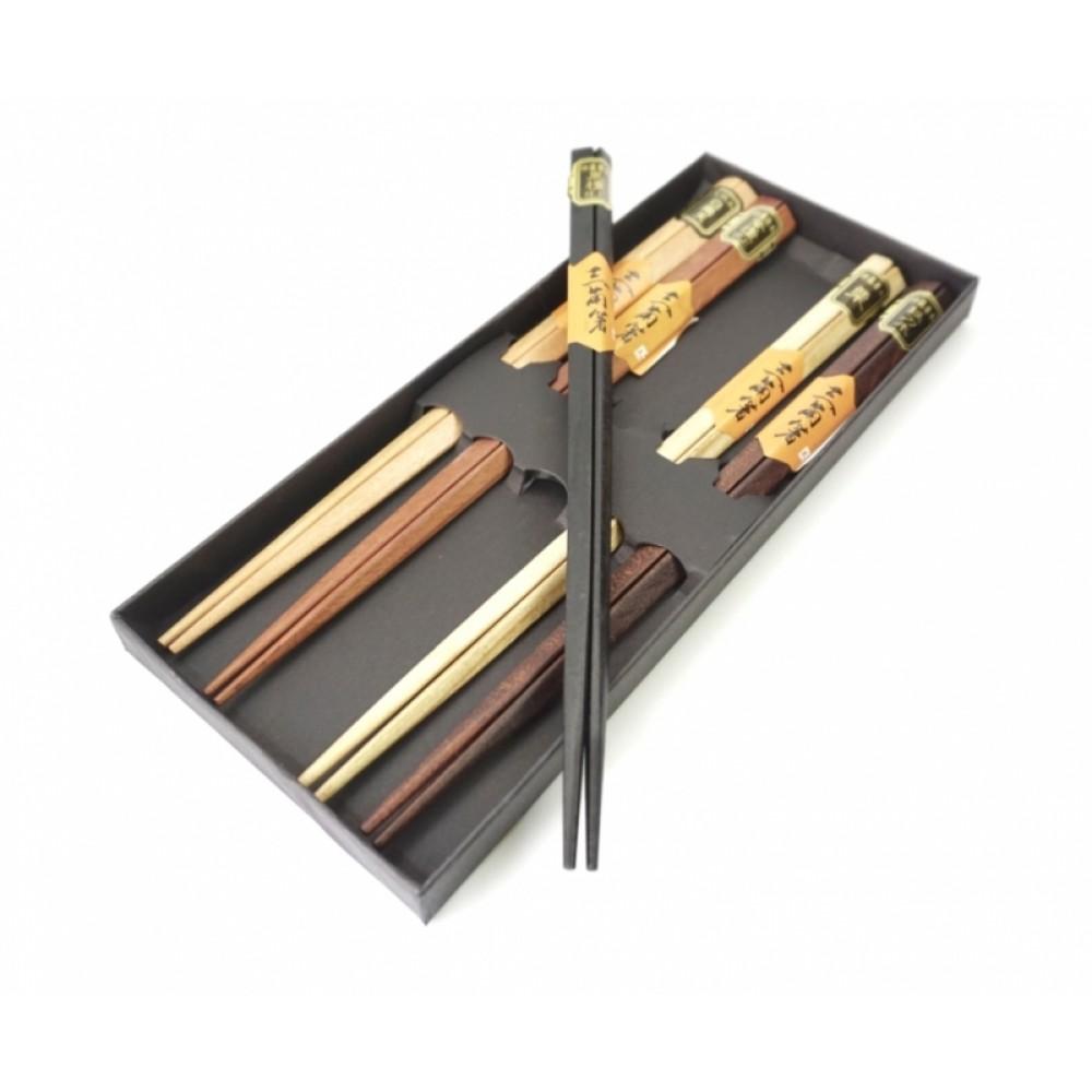 Палочки для еды треугольные деревянные ассорти 5 видов набор 5 пар