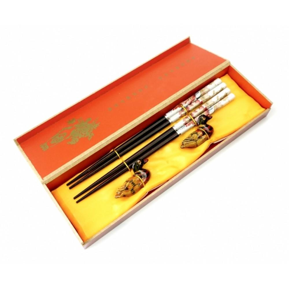 Палочки для еды, для суши 2 пары + 2 подставки в подарочной коробке №4