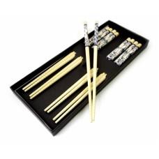 Палочки для еды бамбук с рисунком, для суши набор 5 пар №5