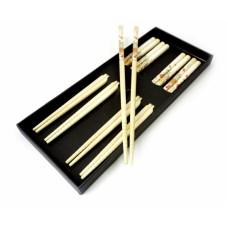 Палочки для еды бамбук с рисунком, для суши набор 5 пар №6