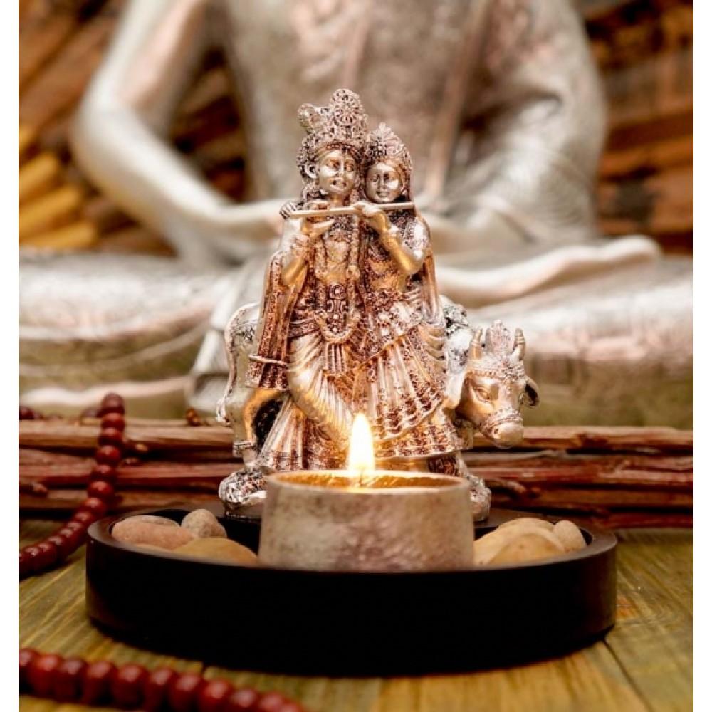 Статуэтка Радха Кришна + подсвечник в серебряном цвете 14 см
