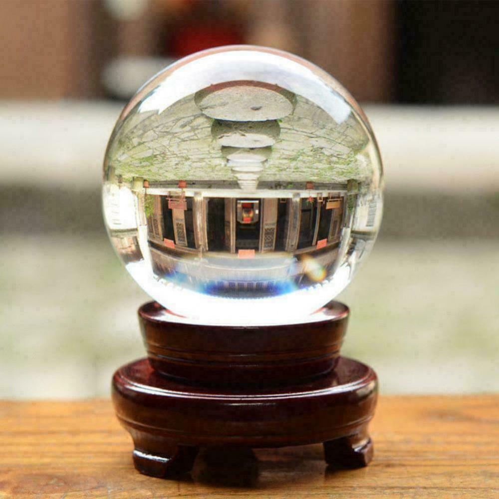 Шар хрустальный магический на деревянной подставке d=10 см.