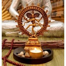Статуэтка Шива Натарадж с подсвечником в золотом цвете 20 см
