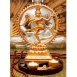 Статуэтка Шива Натарадж с подсвечником в золотом цвете 30 см