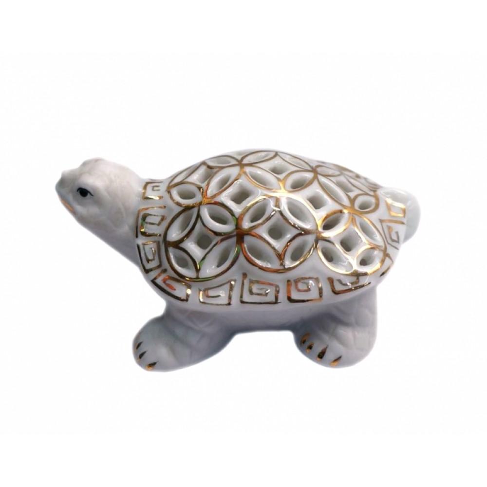 Черепаха с монетным панцирем Фаянс Золотая