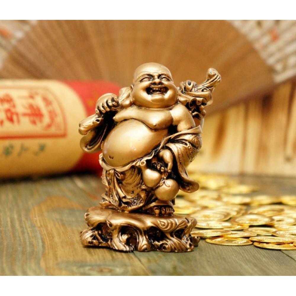 Статуэтка Хотей с корнем Жень Шеня под бронзу 10,5 см