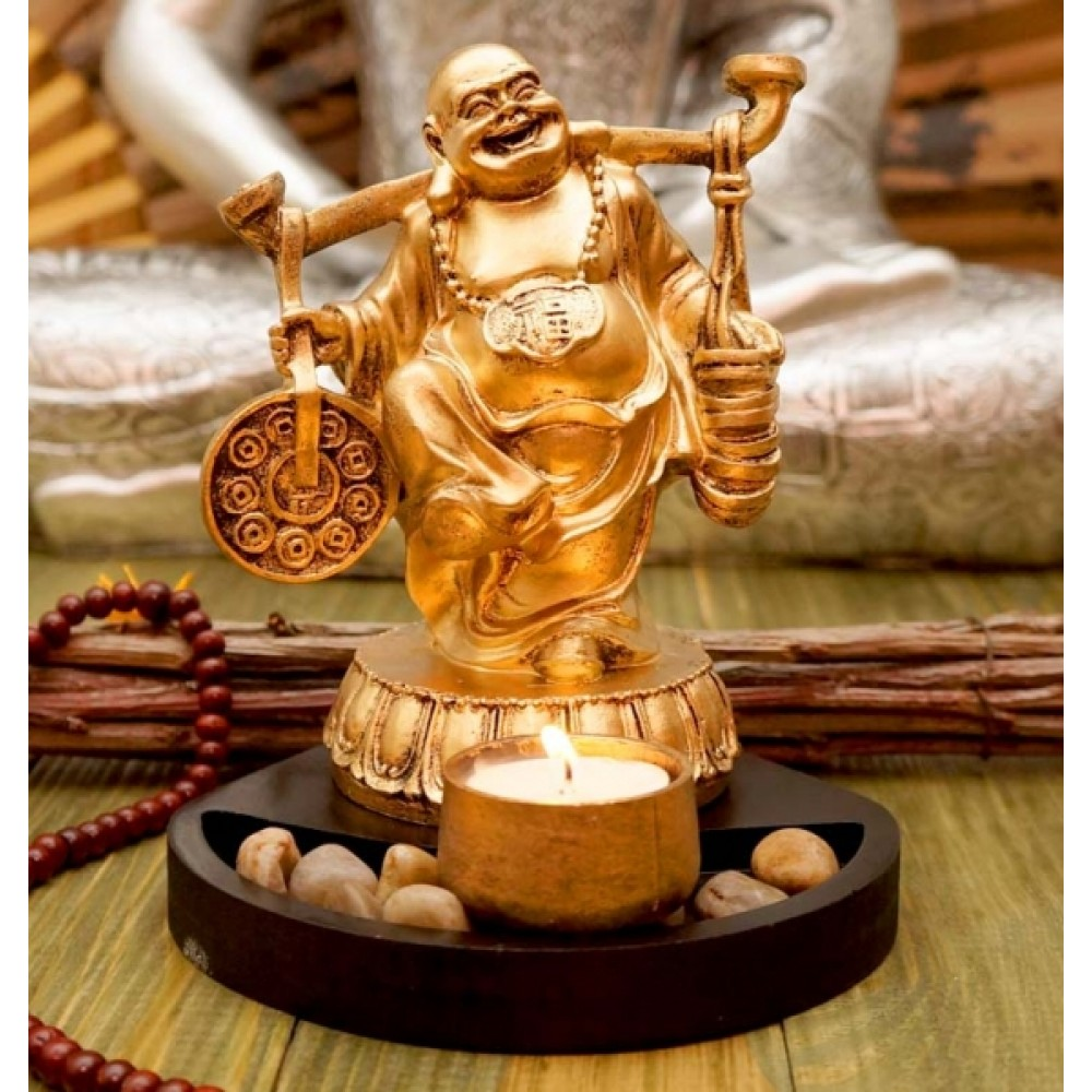 Статуэтка Хотей с подсвечником в золотом цвете 18 см