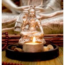 Статуэтка Шива с подсвечником в серебряном цвете 12.5 см