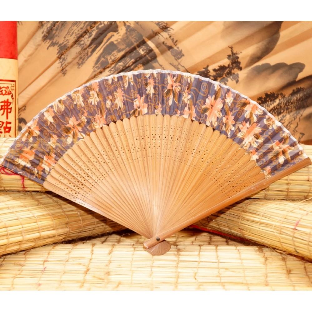 Веер китайский шелк + бамбук №2