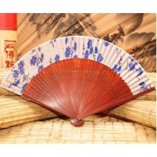 Веер китайский шелк + бамбук №25
