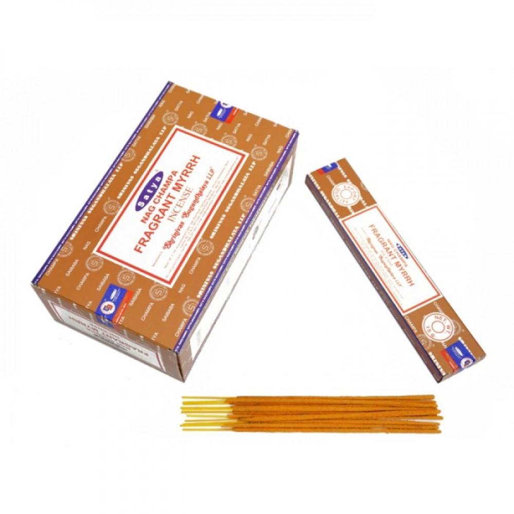Аромапалочки натуральные индийские благовония Мирра Сатья Satya Fragrant Myrrh