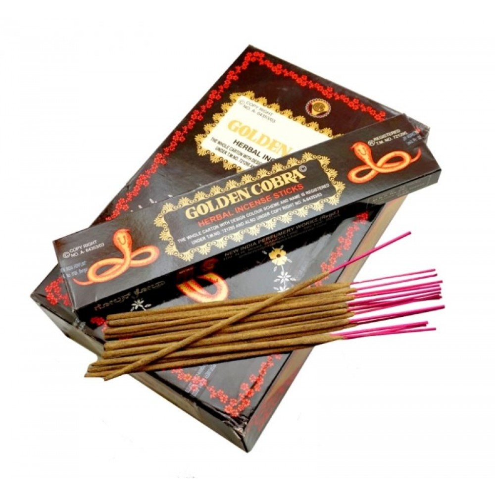 Аромапалочки натуральные пыльцевые Золотая кобра Golden Cobra (New India perfumery Works) 15 палочек