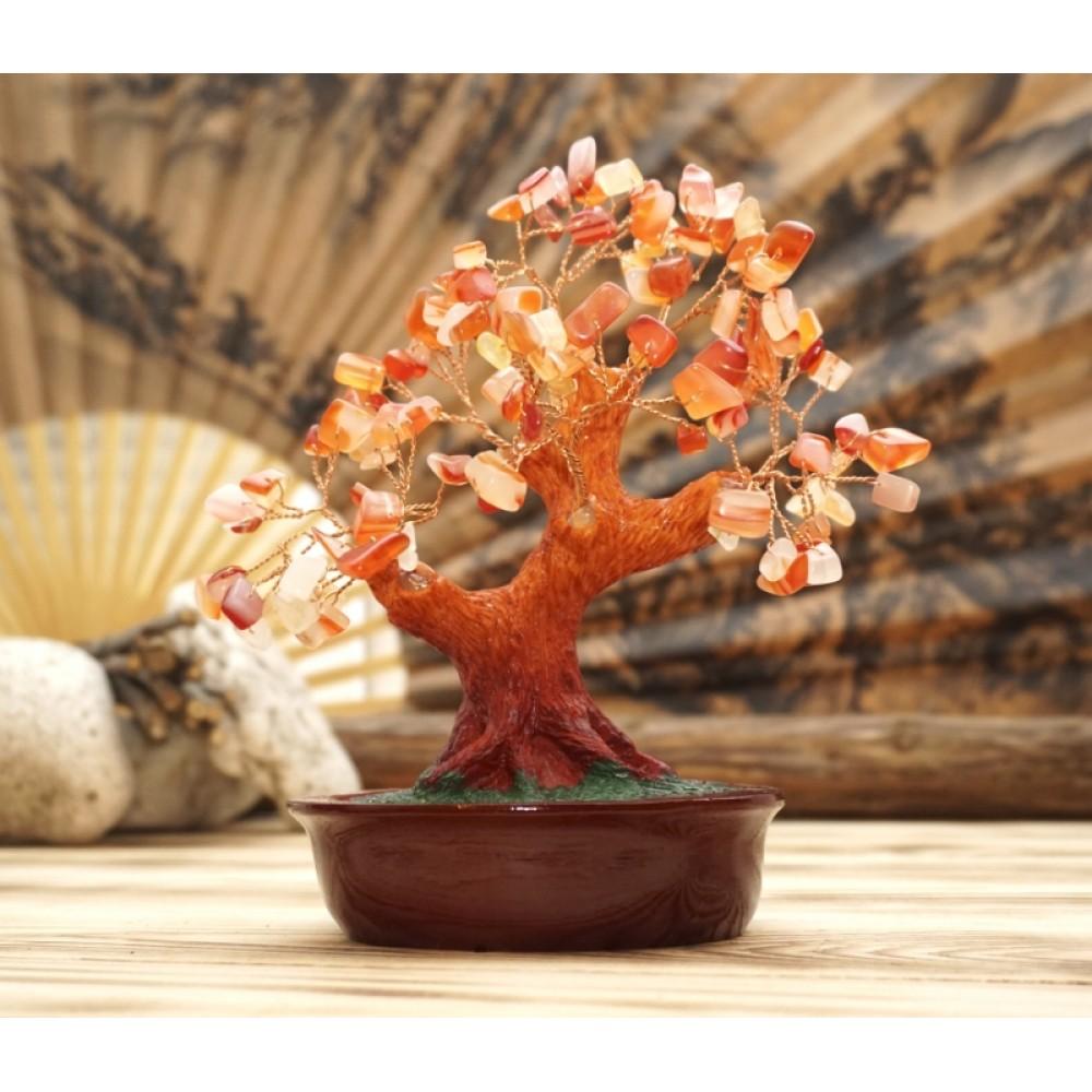 Дерево Счастья с камнями Сердолик 21 см
