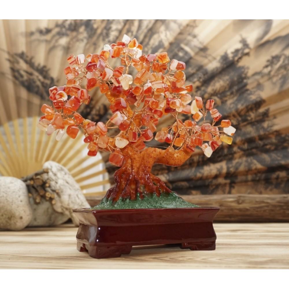 Дерево Счастья с камнями Сердолик 22,5 см