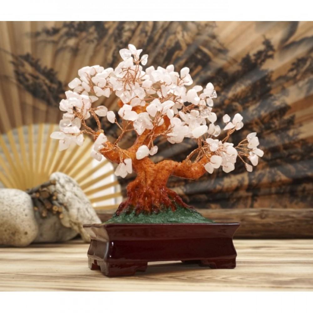 Дерево счастья с камнями Розовый кварц 22,5 см.