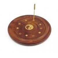 Подставка для аромапалочек деревянная Тарелка Инь Ян