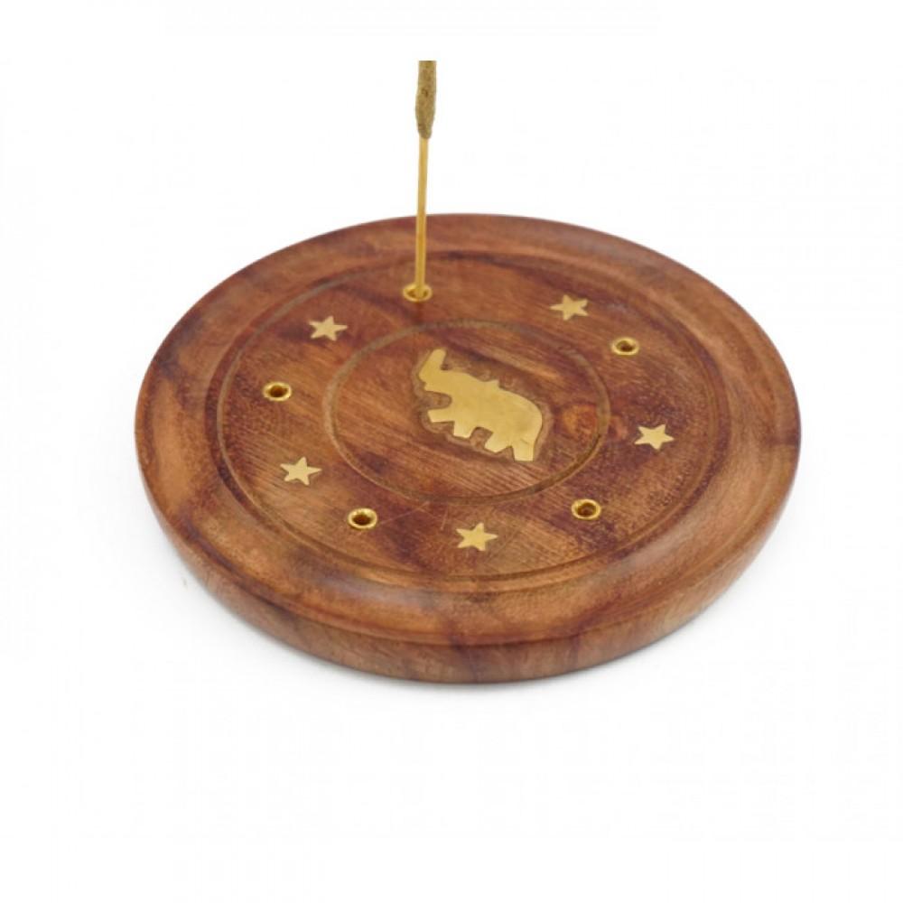 Подставка для аромапалочек деревянная Тарелка со слоном