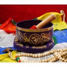 Поющая чаша, резонатор, подушка для чаши фиолетовая. Индия