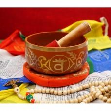 Поющая чаша, резонатор, подушка для чаши коричневая. Индия
