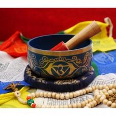 Поющая чаша, резонатор, подушка для чаши синяя. Индия