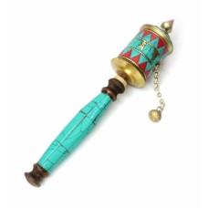 Молитвенный барабан на ручке инкрустированный камнями