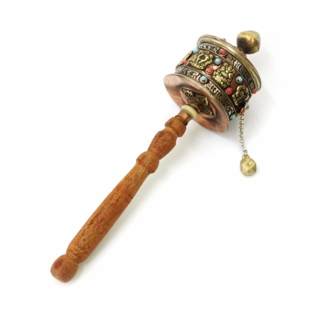 Молитвенный барабан на ручке медь + латунь №3