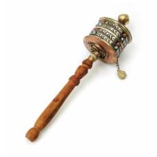 Молитвенный барабан на ручке медь + латунь + вставки