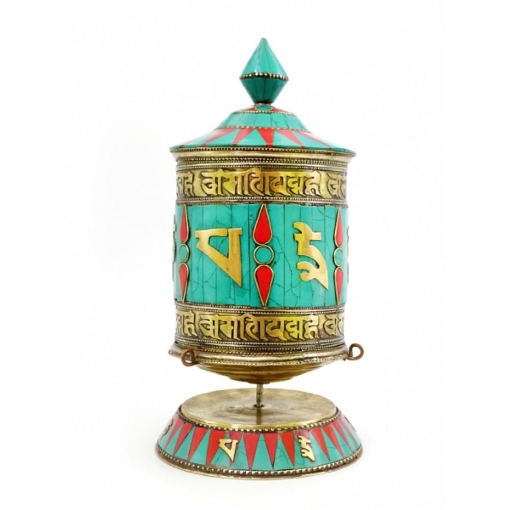 Молитвенный барабан настольный инкрустированный камнями